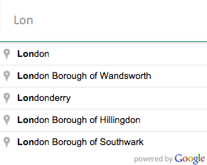 Google Places: limit autocomplete results to cities only