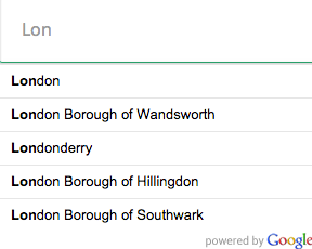 Google Places: limit autocomplete results to cities only, hints